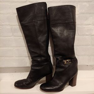 "Tory Burch ""Jenna"" black leather heel boot s 10"